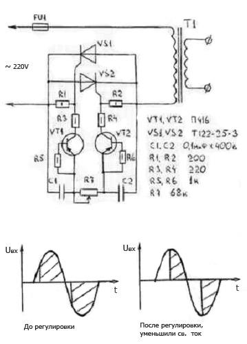 Простой электронный регулятор сварочного тока, схема.